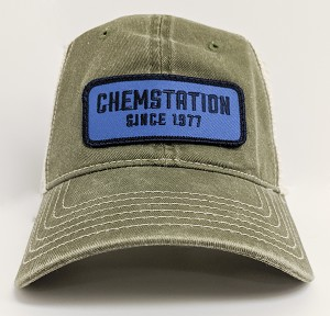 Olive Washed Pigment Dyed Mesh Cap w/Patch